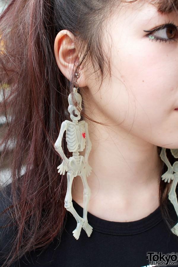 Long skeleton earrings
