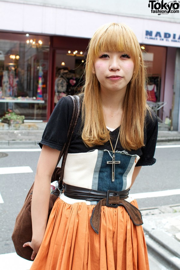 Pieced cumberbund & full orange skirt