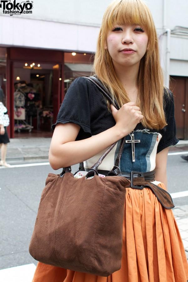 Brown fabric handbag