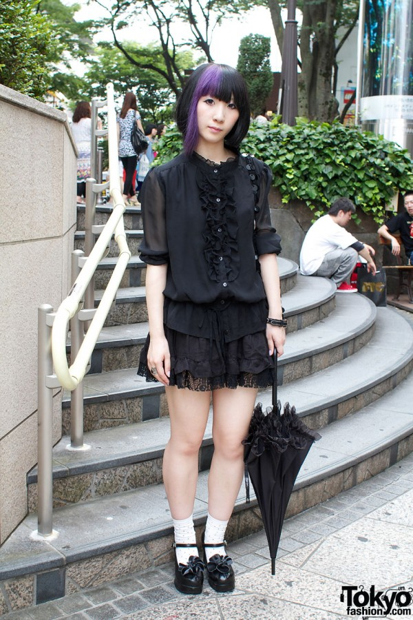 Purple Hair, Borders Skirt & Black Parasol