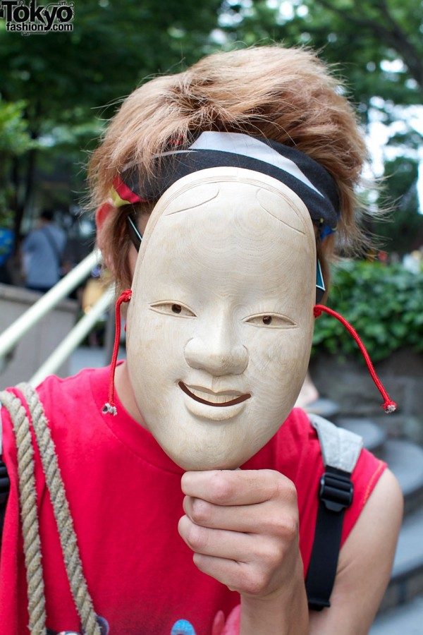 High school student with vintage mask