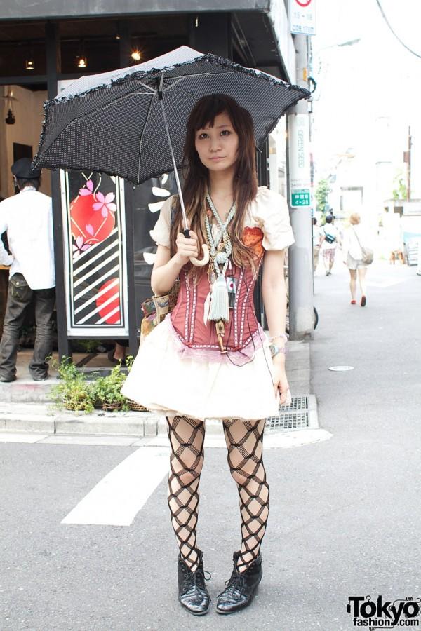 Grimoire dress & corset with black mesh stockings