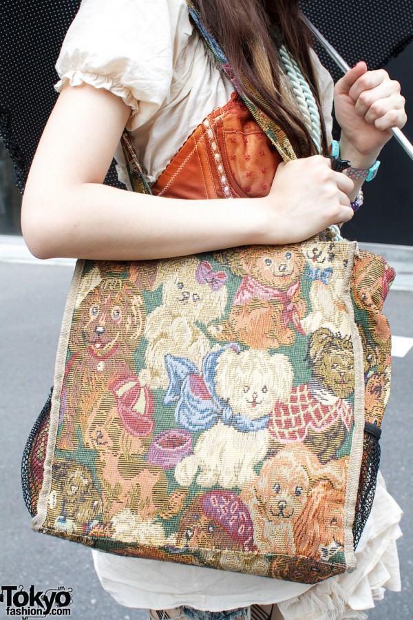 Tapestry bag with puppies