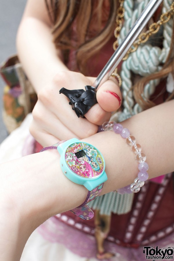 Anime watch and glass bead bracelet