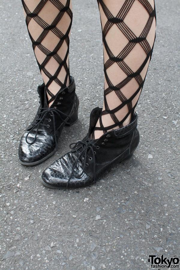 Black mesh stockings & booties