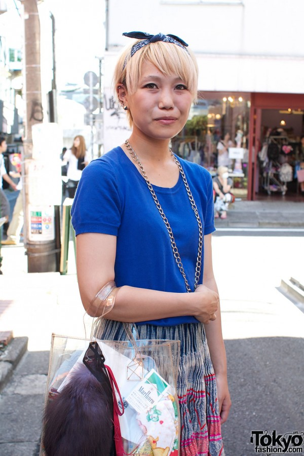 Blue Uni-qlo top & crinkle print skirt