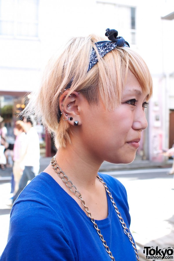 Blonde bob, bandana & piercings