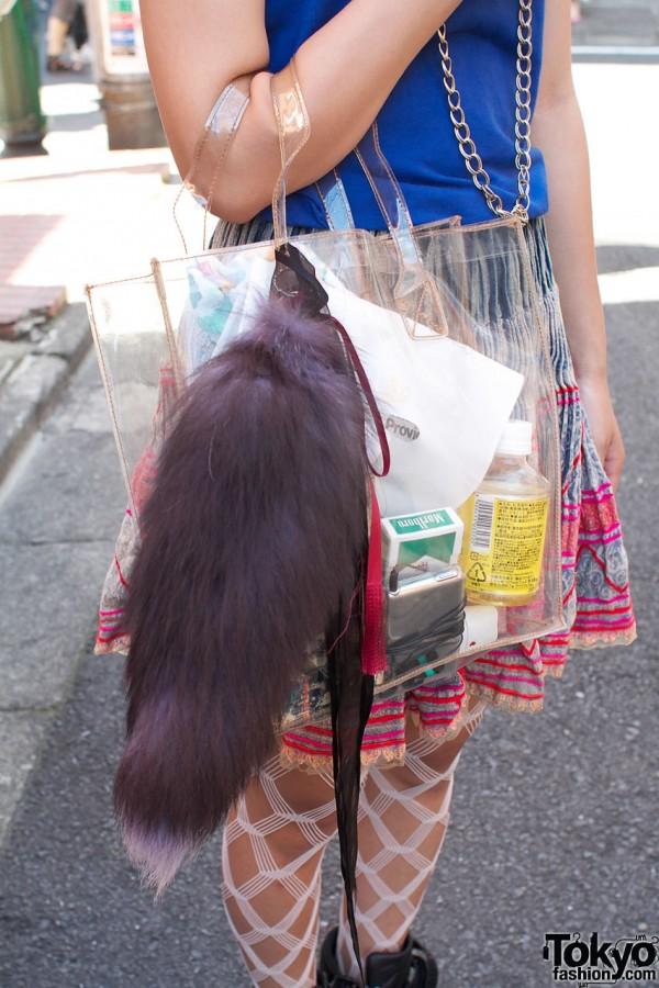 Fur tail & clear plastic bag