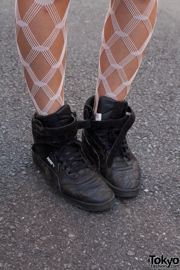 White fishnets & black Puma shoes