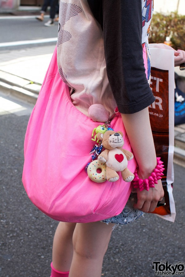 Pink H&M bag, toys & spiked bracelet