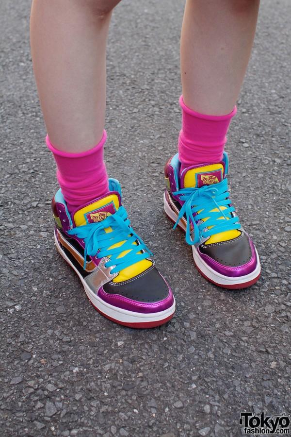 Pink socks & colorful Van shoes