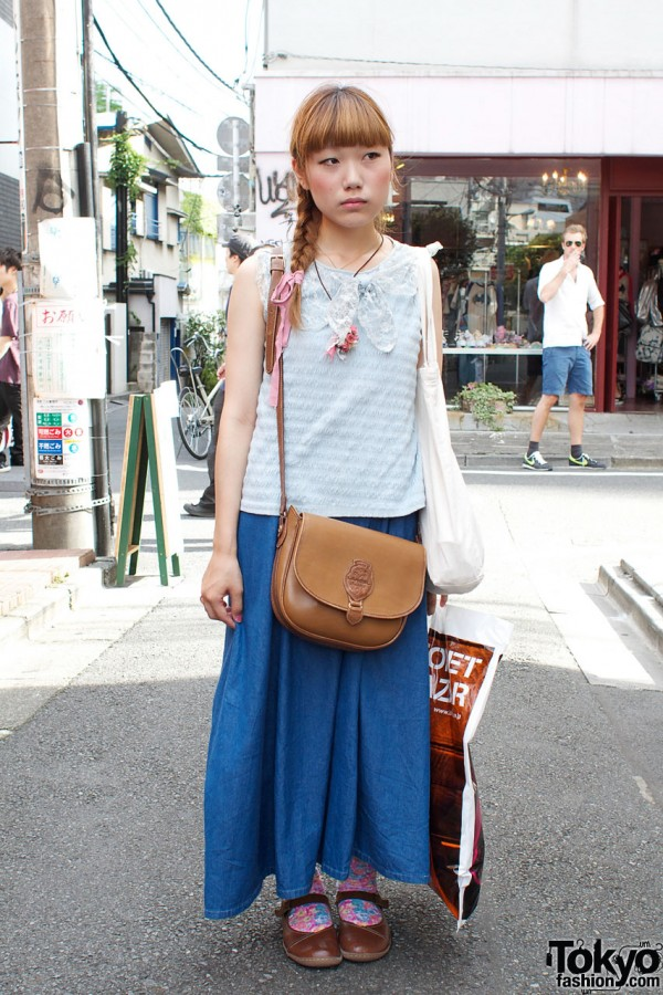 Long braid, resale top & denim skirt