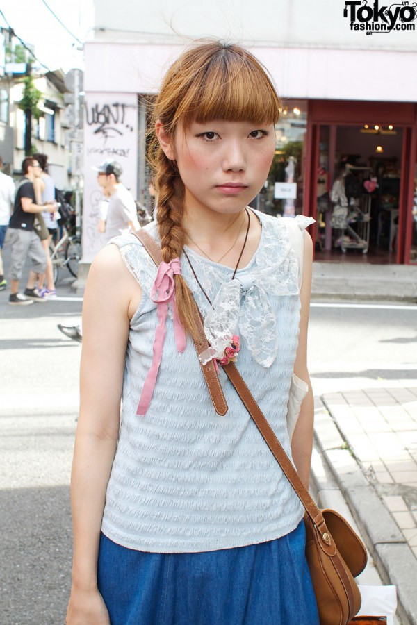Lace-trimmed blouse & cross body bag