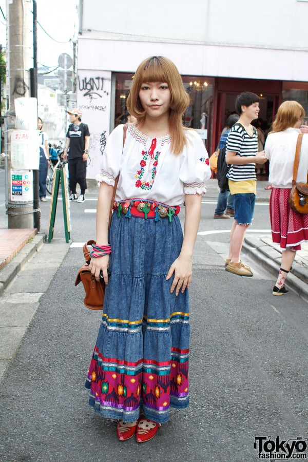 Layered Hair, Peasant Blouse & Long Denim Skirt