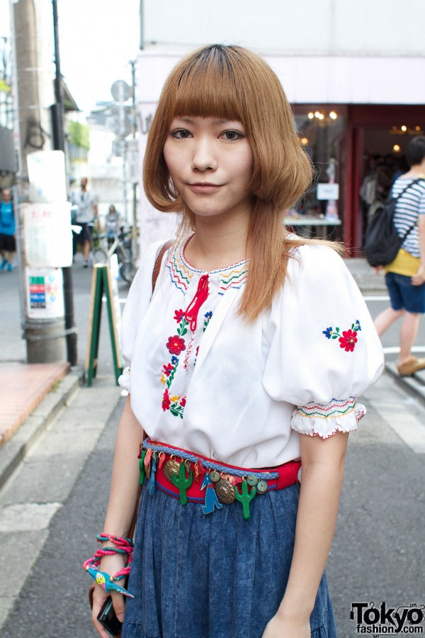 Embroidered blouse & belt with charms