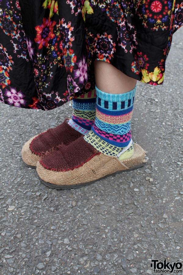 Mugendo cloth shoes & patterned socks