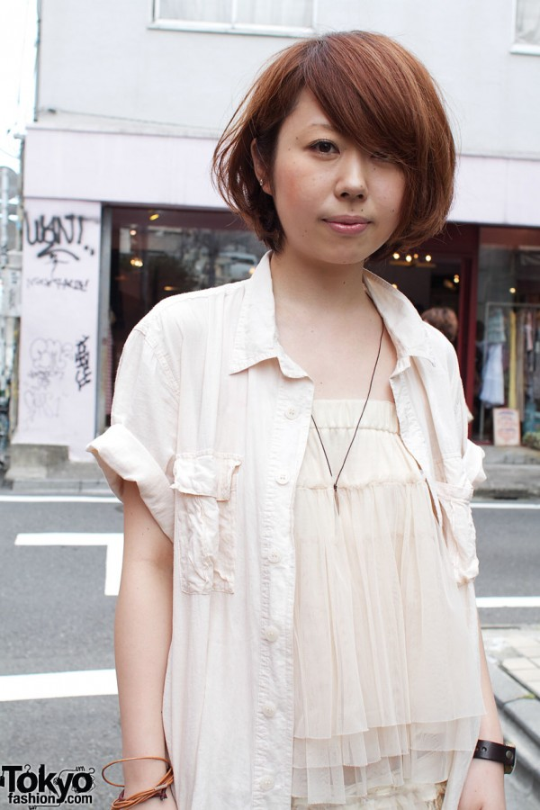 White chiffon top & cotton shirt