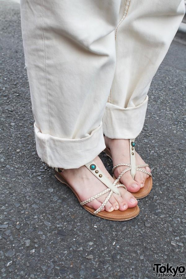 White Levis & braided sandals