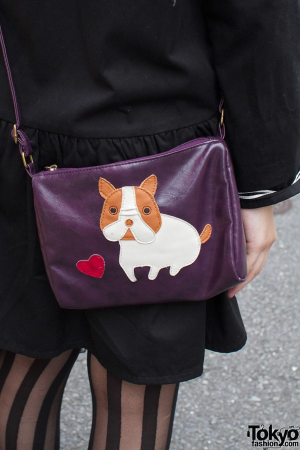 Purple leather bag with puppy applique