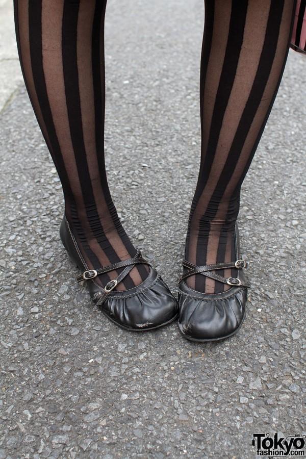 Striped black sockings & leather flats
