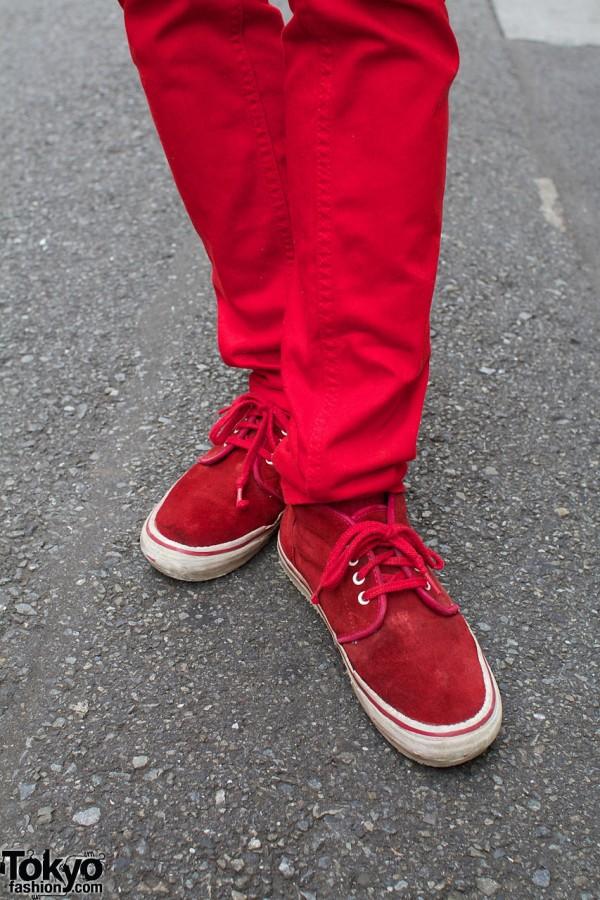 H&M red skinny pants & red Vans