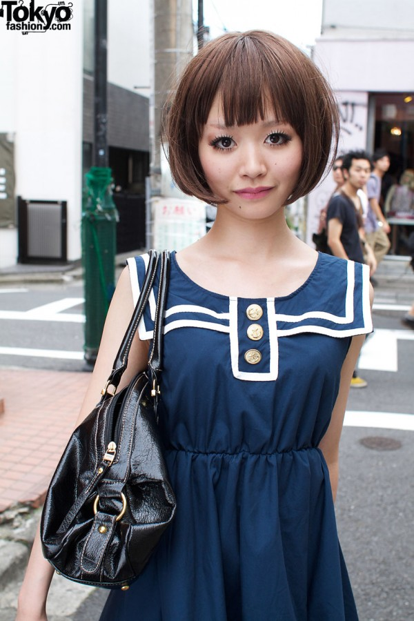 Blue dress with white trip from One Spo