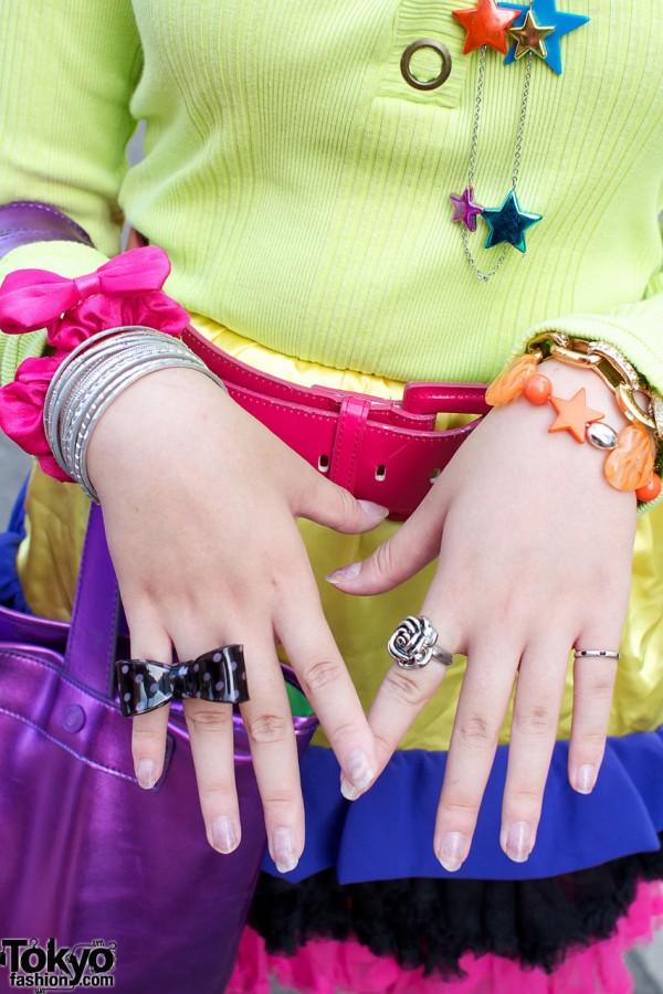 Plastic & silver bracelets & rings