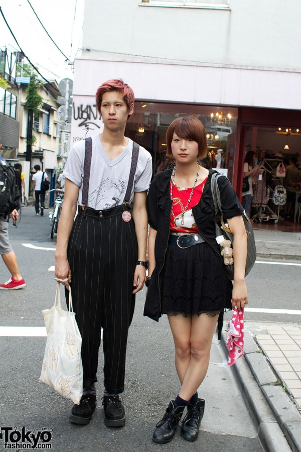 Kita-Kore Top & Lace Skirt vs. Muji Bag & Pinstripes