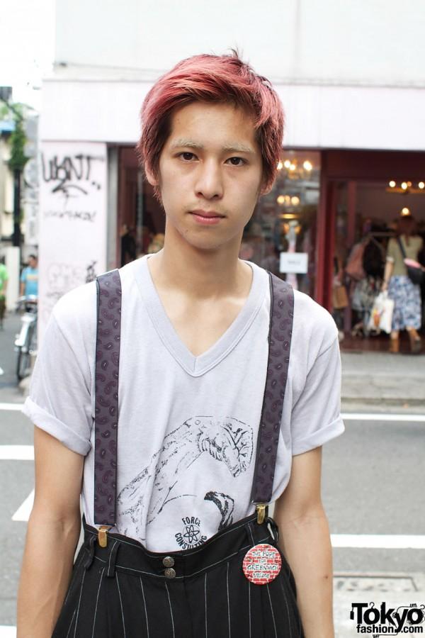 V-neck t-shirt & suspenders