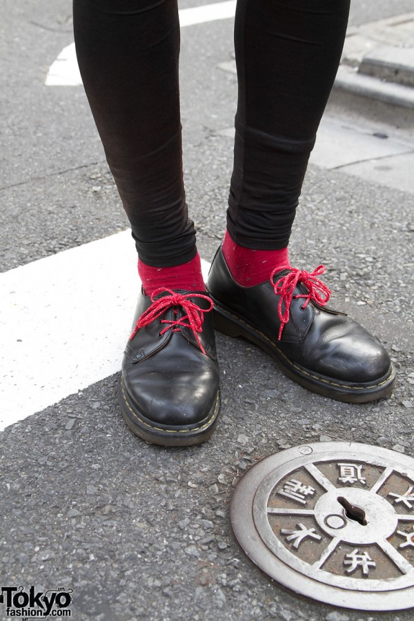 Doctor Martens shoes with red laces