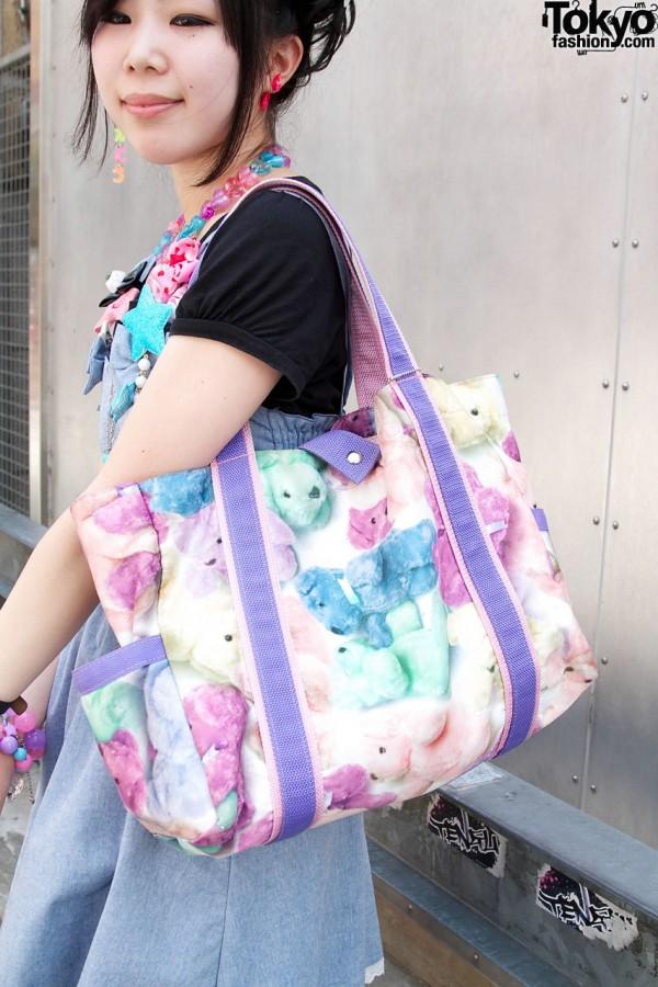 Milk teddy bear tote bag