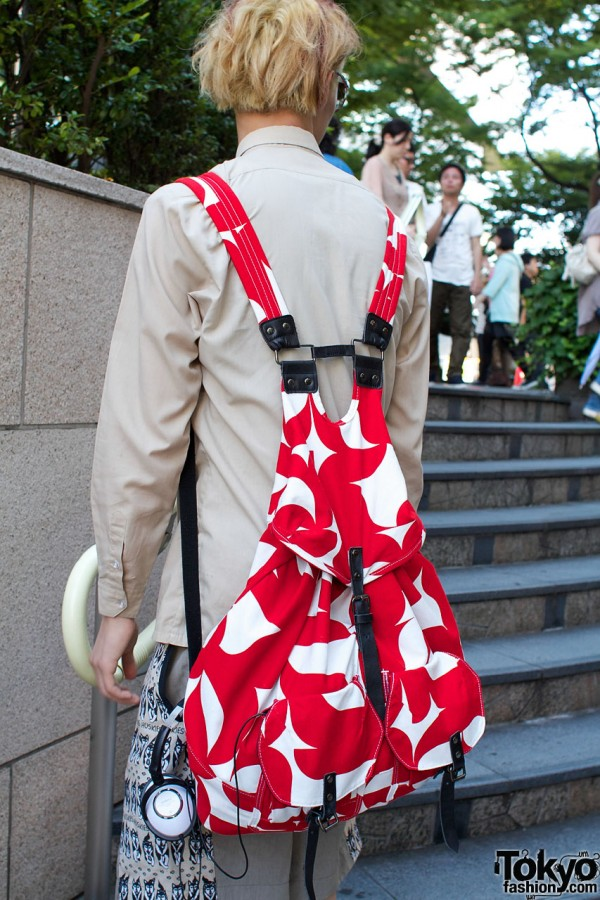 Red & white Blank backpack