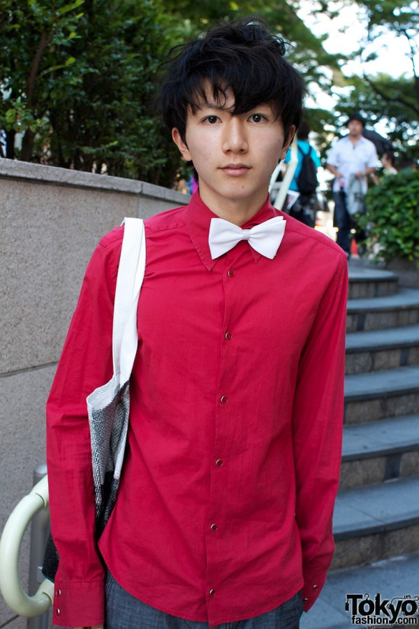 Red Pingo shirt & white bow tie