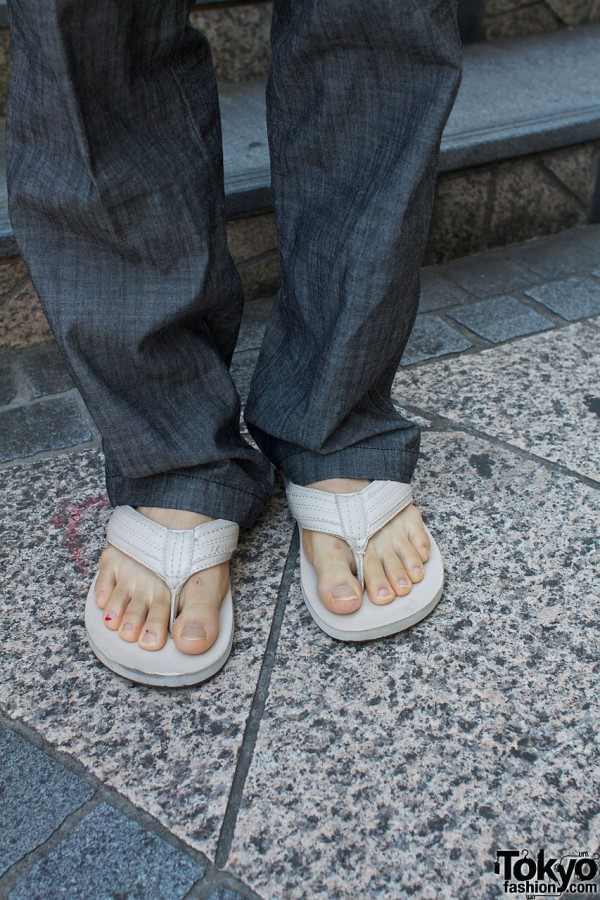 Uniqlo pants & Gap flip flops