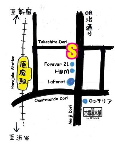 Spinns Harajuku Map