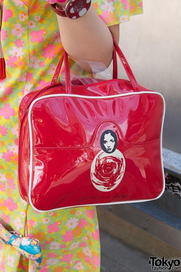 Red vinyl purse