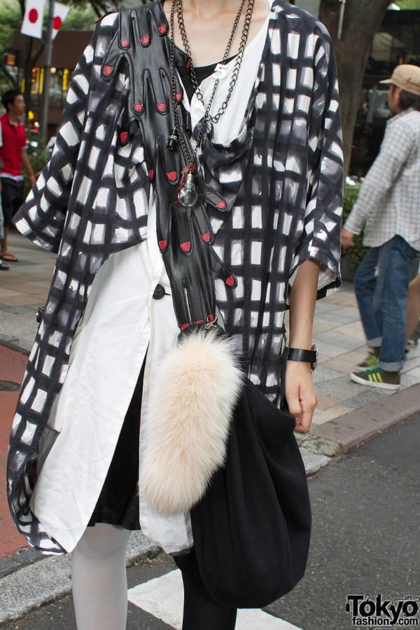 Monomania coat, white jacket & black dress