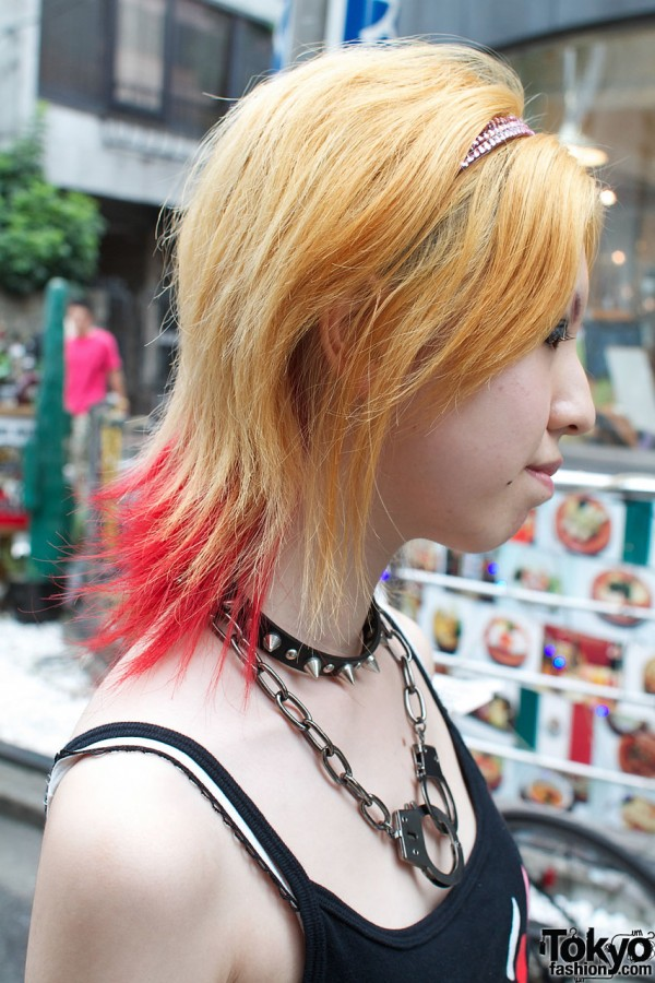Two tone hair & spiked neck band