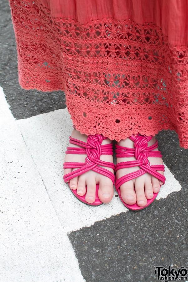 Pink maxi skirt & pink sandals