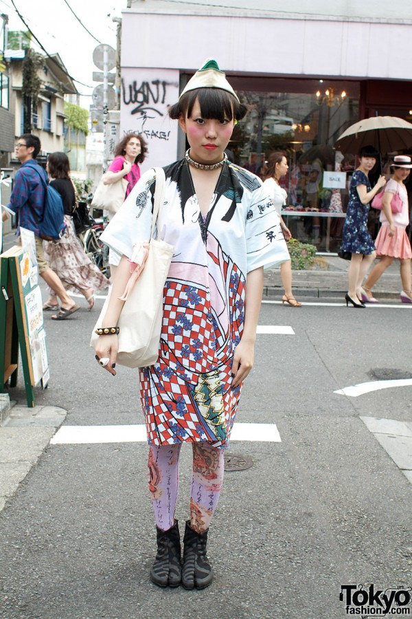 Sou Sou Jikatabi Boots & Handmade Kimono Dress