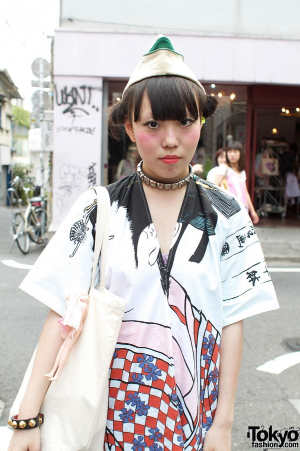 Handmade graphic print kimono dress