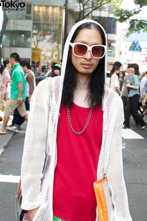 White frame sunglasses & mesh parka