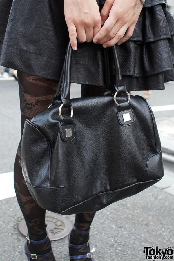 H&M black leather handbag