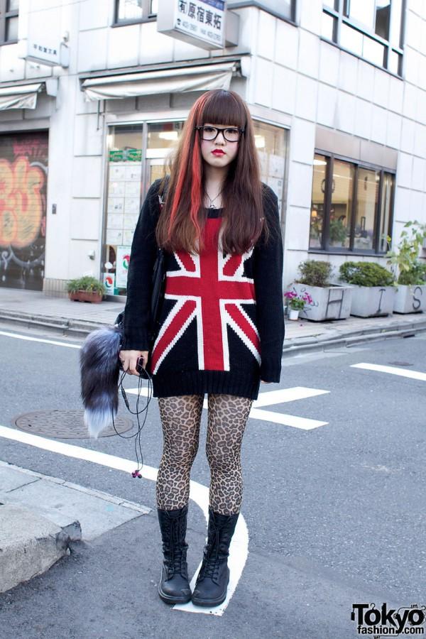 Union Jack Sweater & Cheetah Print Stockings