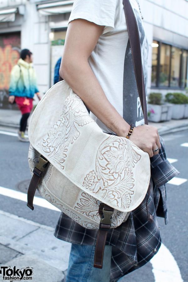 Embossed shoulder bag