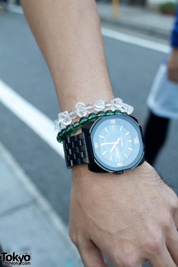 Diesel watch and beaded bracelets