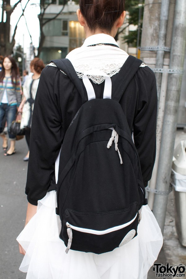 Black & white Wego backpack