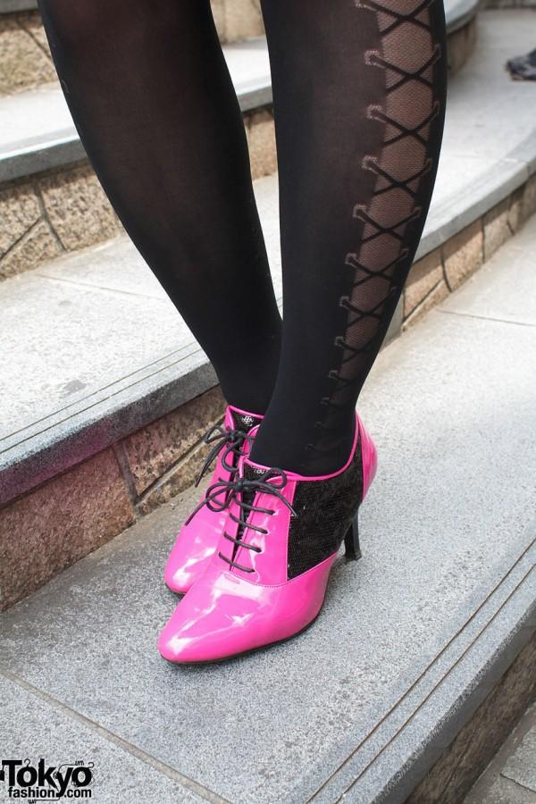 Pink & Black Heels in Harajuku