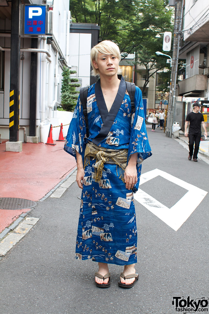 Japanese Fashion Blogger In Blue Yukata Sandals