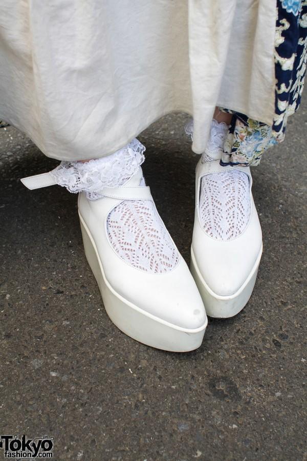 Tokyo Bopper white platform shoes